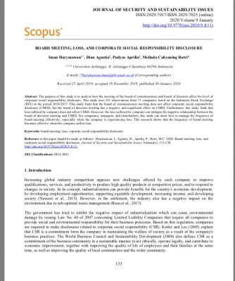 Board Meeting, Loss, And Corporate Social Responsibility Disclosure