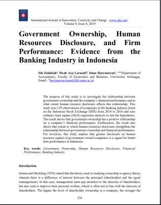 Government Ownership, Human Resources Disclosure, and Firm Performance: Evidence from the Banking Industry in Indonesia