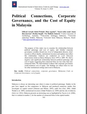 Political Connections, Corporate Governance, and the Cost of Equity in Malaysia