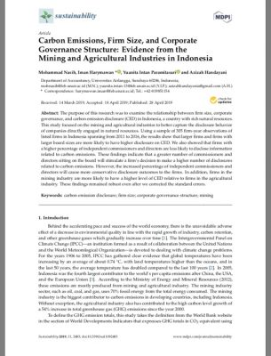 Carbon Emissions, Firm Size, and Corporate Governance Structure: Evidence from the Mining and Agricultural Industries in Indonesia