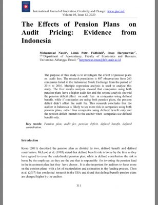 The Effects of Pension Plans on Audit Pricing: Evidence from Indonesia
