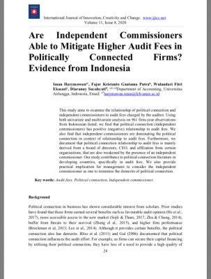 Are Independent Commissioners Able to Mitigate Higher Audit Fees in Politically Connected Firms? Evidence from Indonesia